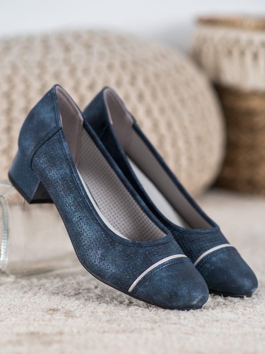 Stylové dámské lodičky modré na širokém podpatku