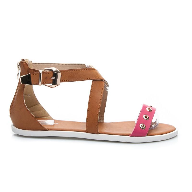 6dc428f7fda2 Stylové dámské sandálky s růžovým páskem