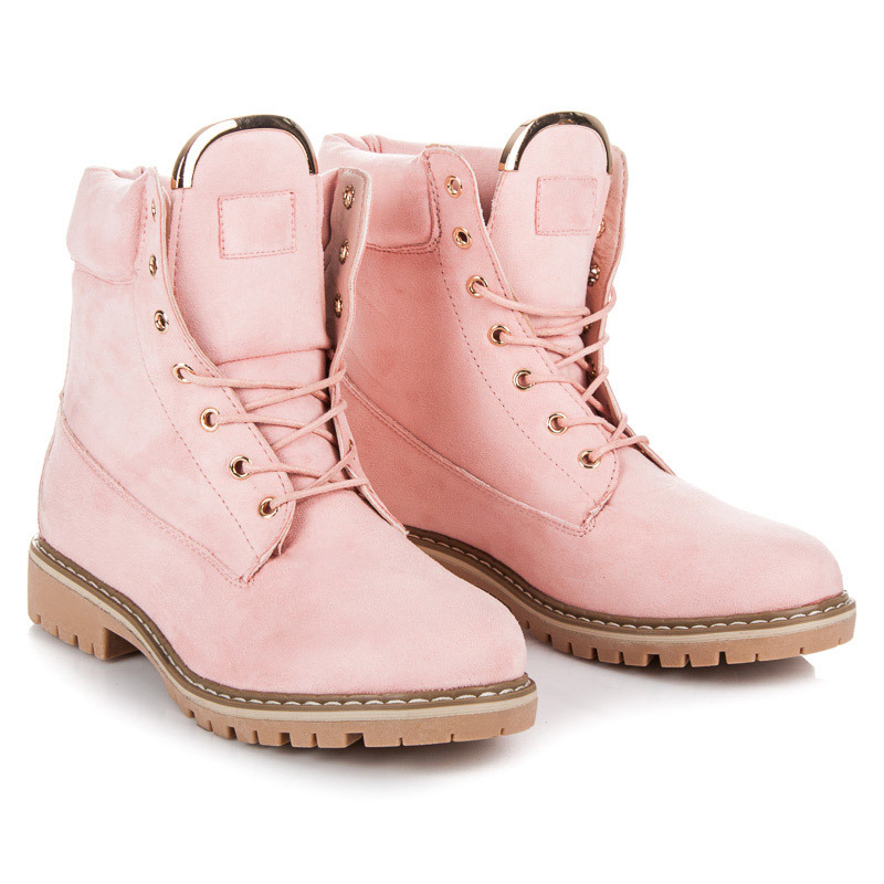 3ea785a9cfe Stylové růžové workery s ozdobným zipem
