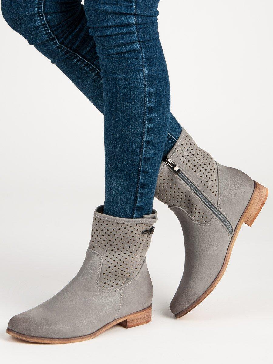 ... Stylové šedé kotníkové boty ... 352632d31e