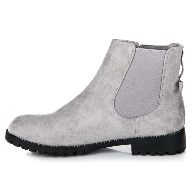 ... Stylové šedé nízké kotníkové boty s mašlí 758ac515a9