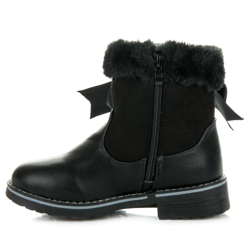 850a43279fb Suprovní černé dětské zimní kozačky s kožíškem