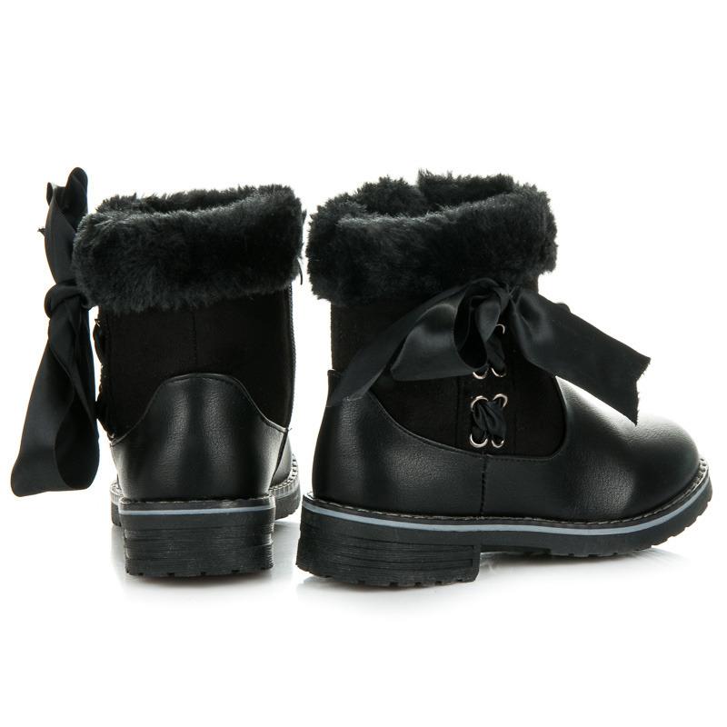 ba3fec44215 ... Suprovní černé dětské zimní kozačky s kožíškem ...