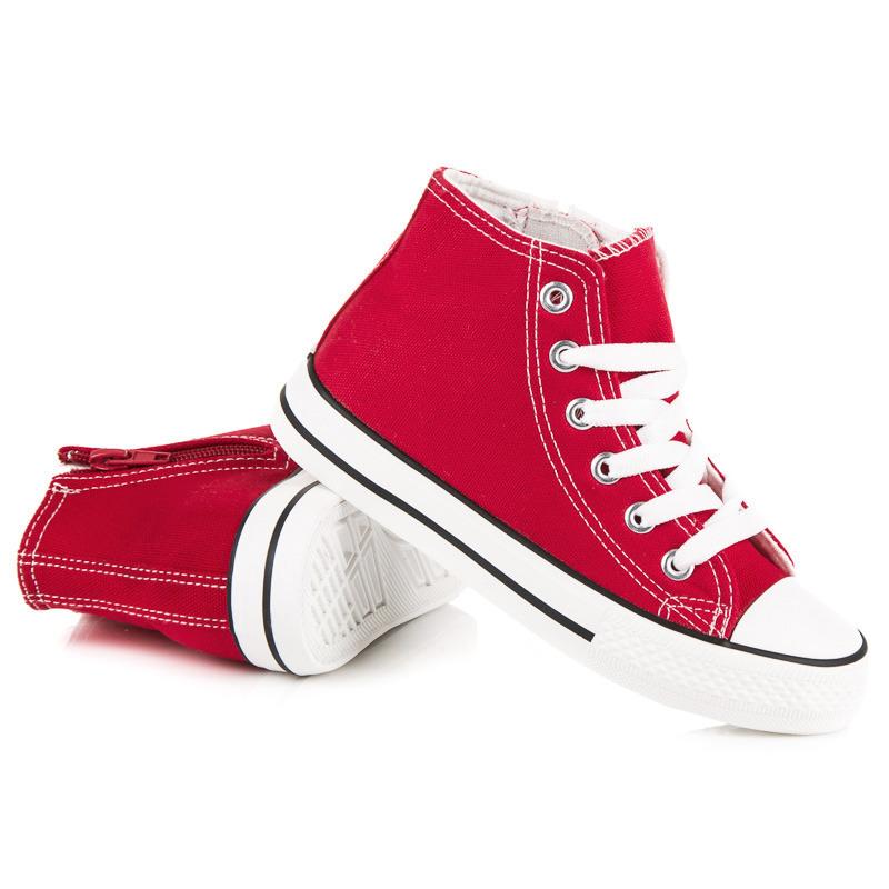 CNB Textilní červené dětské kotníkové tenisky se zipem na boční straně