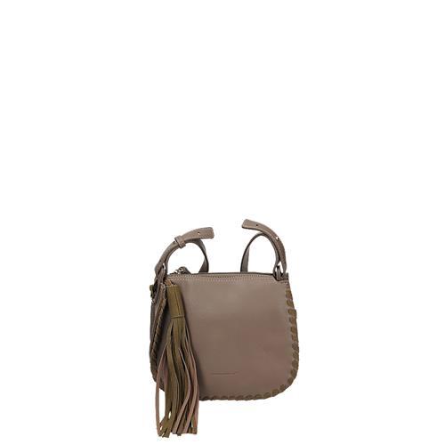Trendová béžová klopnová crossbody kabelka s třásněmi  423eab5b5da