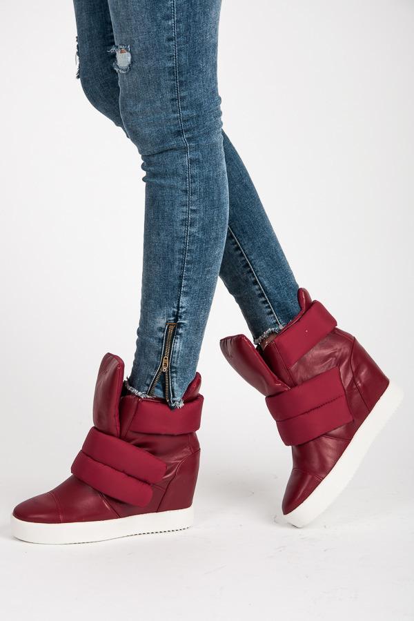 dc9c61b7cd46 Trendy červené kotníkové boty na suchý zip na platformě