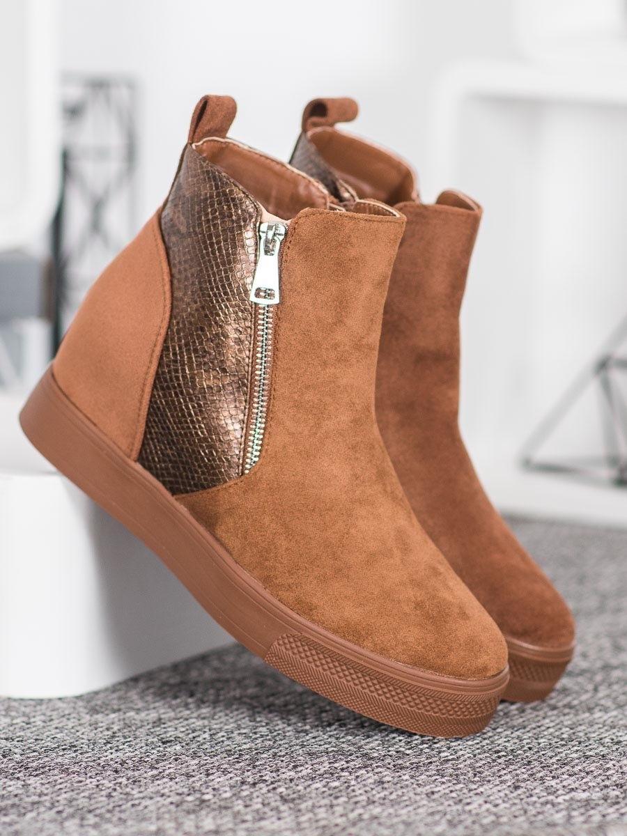 Trendy kotníčkové boty dámské hnědé na klínku