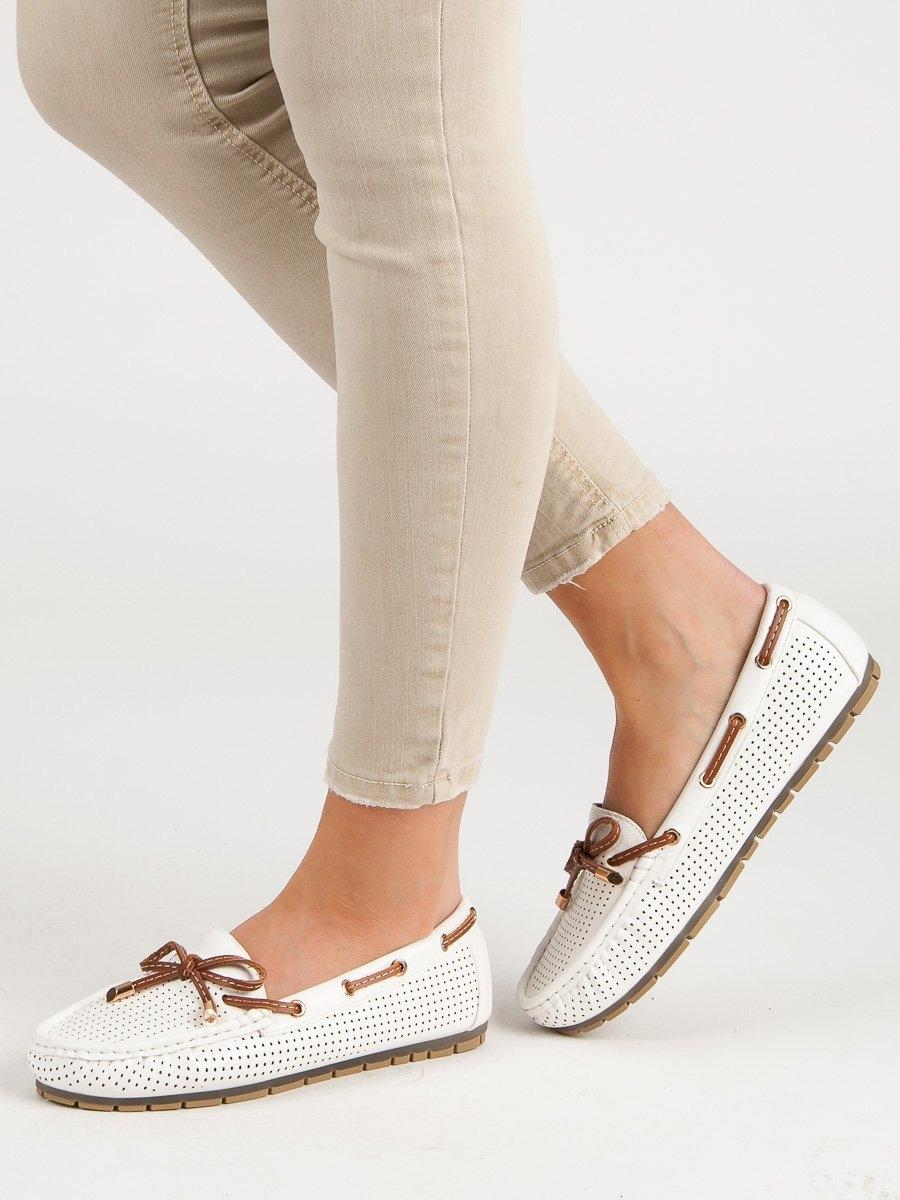 Trendy  mokasíny bílé dámské bez podpatku