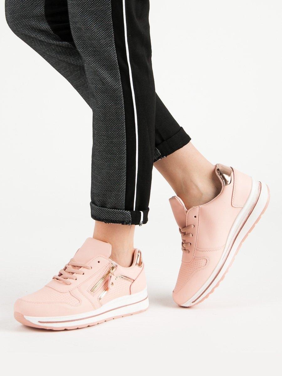 88e0ea876096 Trendy růžové tenisky dámské bez podpatku
