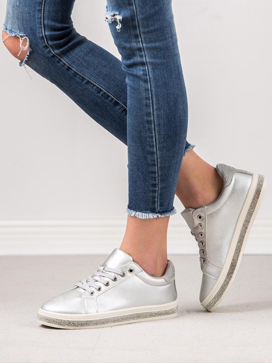 9d4e27a84e Trendy šedo-stříbrné dámské tenisky bez podpatku