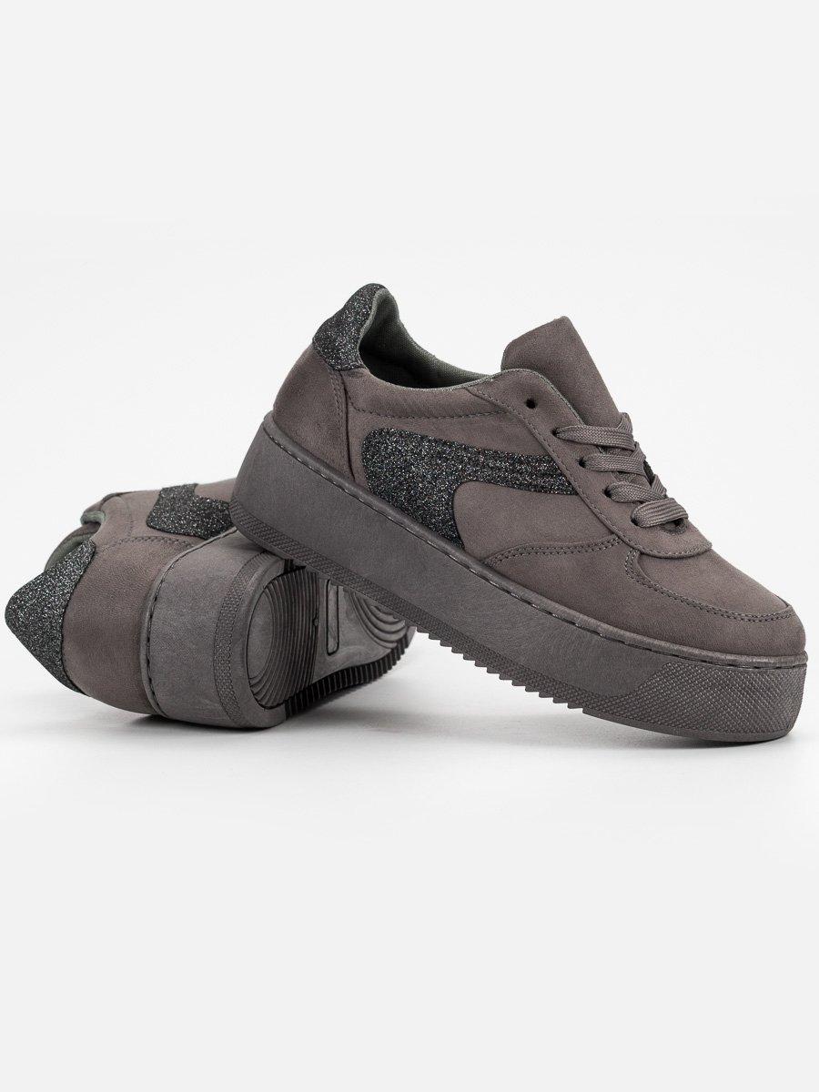 ec08e5e656 ... Trendy tenisky dámské šedo-stříbrné bez podpatku