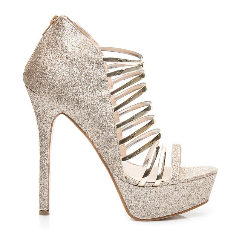 ab716cf0655 Třpytivé zlaté dámské sandály