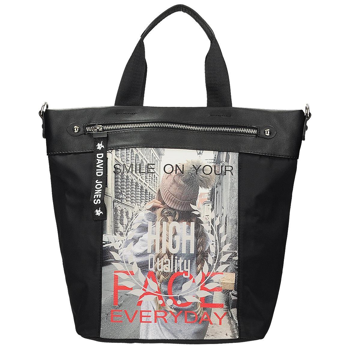 Velká černá taška s módním potiskem 42edd4b4fe