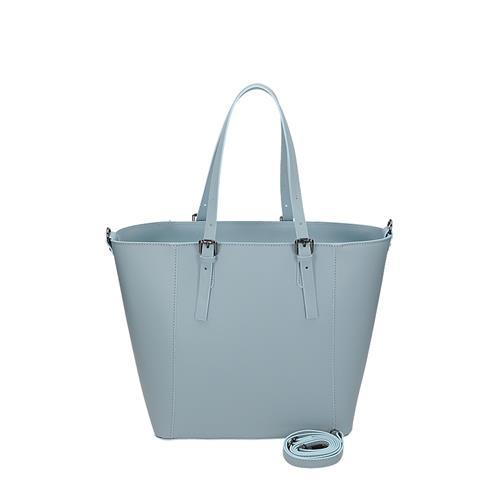 ccf0390c49 Velká kožená minimalistická kabelka v modré barvě
