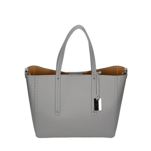 Velká šedá kožená kabelka s děrovaným vzorem  257870a654a