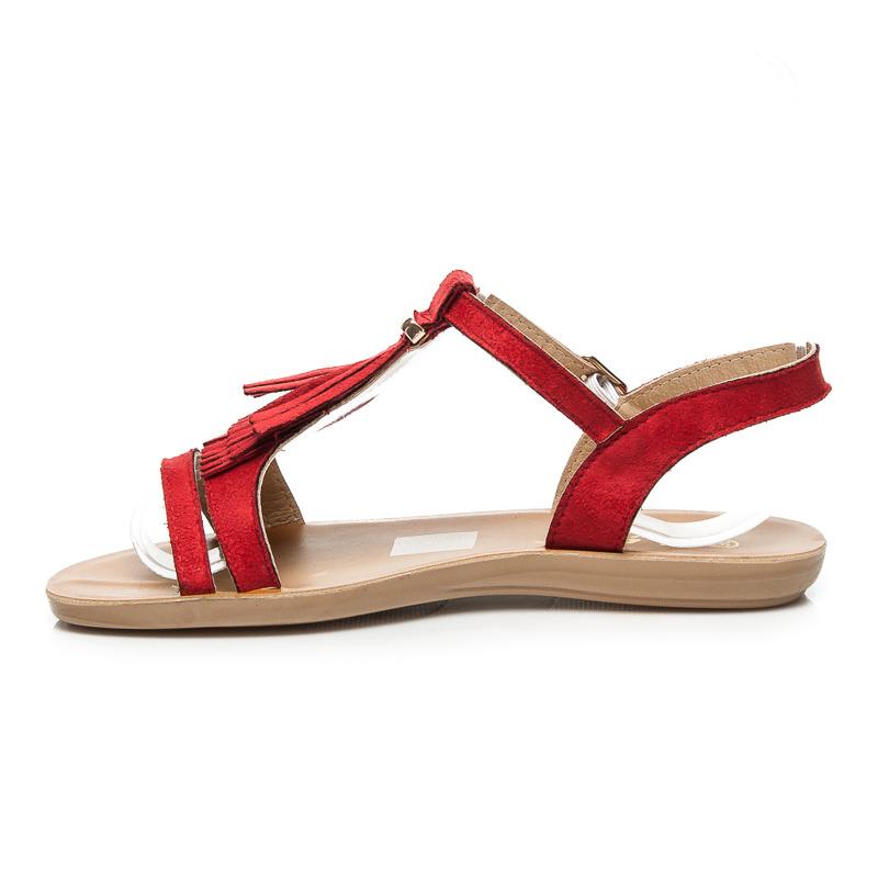 aaabc8f958af Velmi pěkné nízké červené sandále v boho stylu