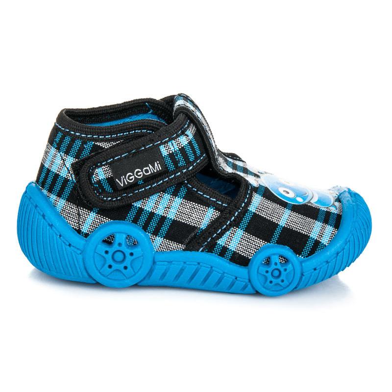 Veselé černo-modré dětské papuče na suchý zip  f9a8bf834a
