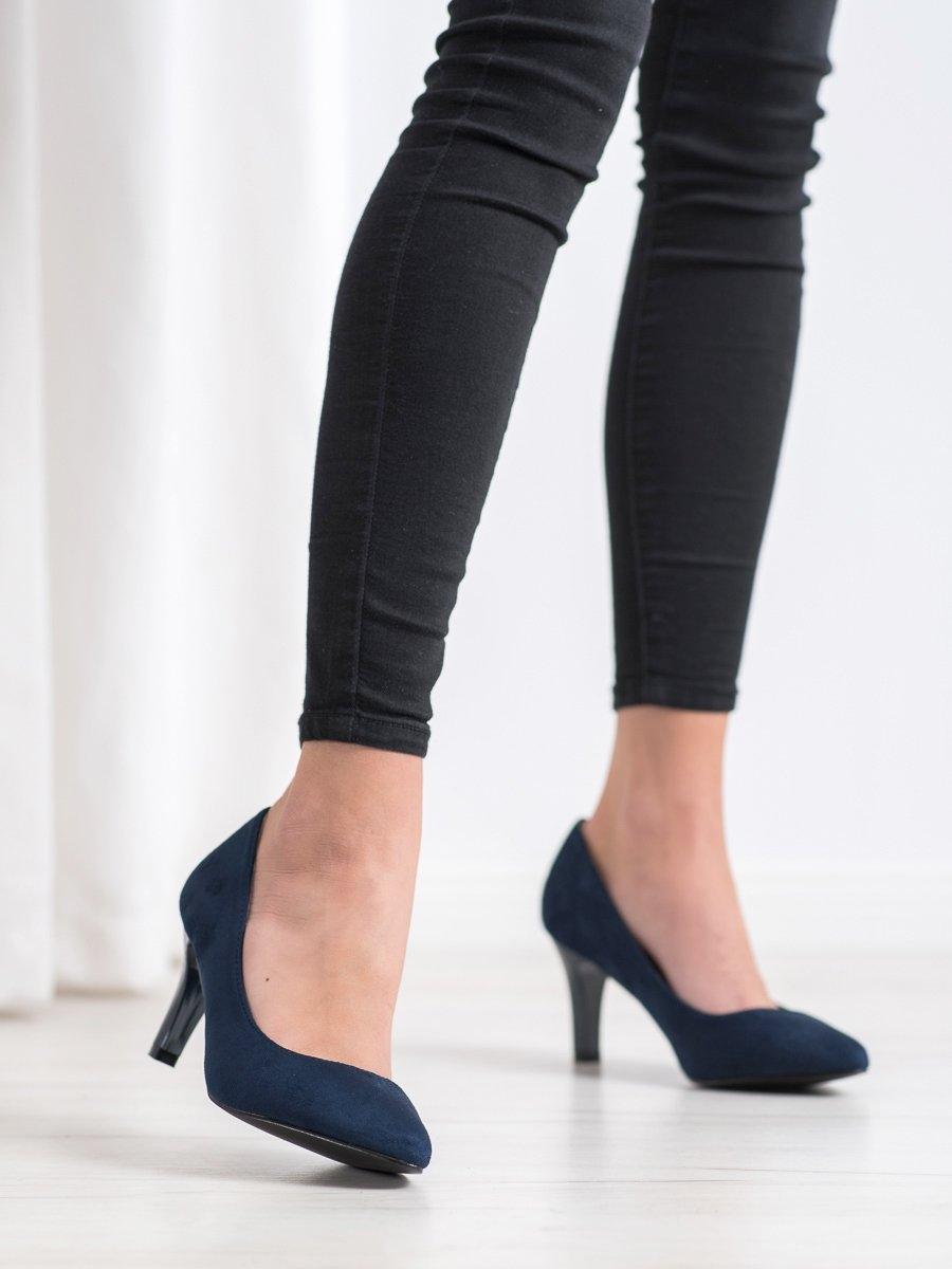 Výborné dámské lodičky modré na širokém podpatku