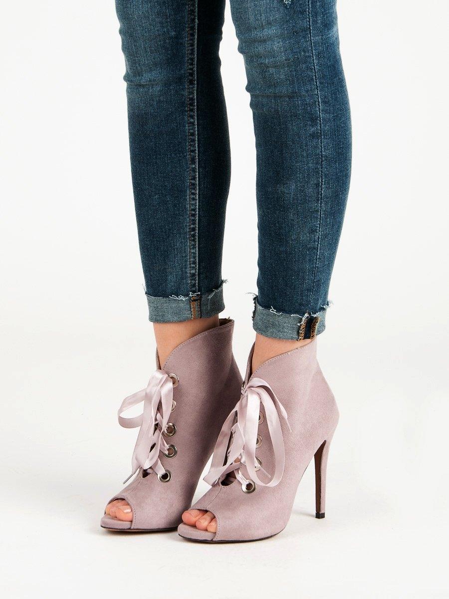Výborné kotníčkové boty dámské fialové na jehlovém podpatku b8c1ffa08d