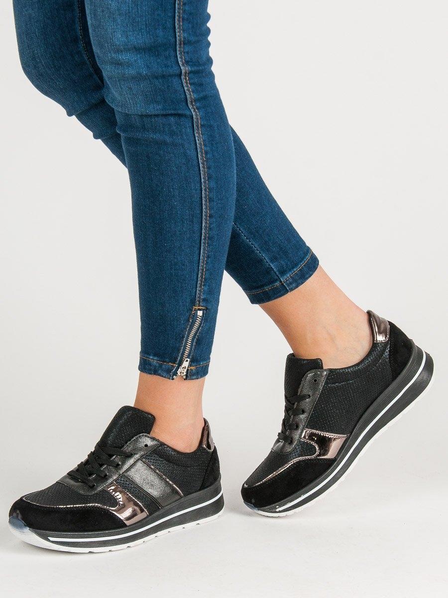 cc3ebf7c423e Zajímavé černé tenisky dámské bez podpatku