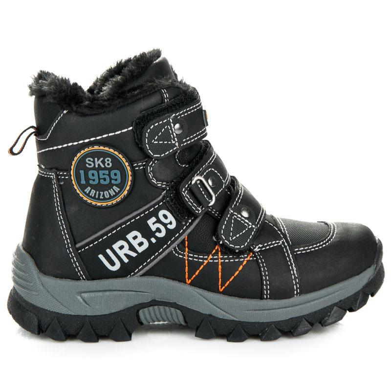Zateplené černé chlapecké kotníkové boty na suchý zip  ce698b7692a