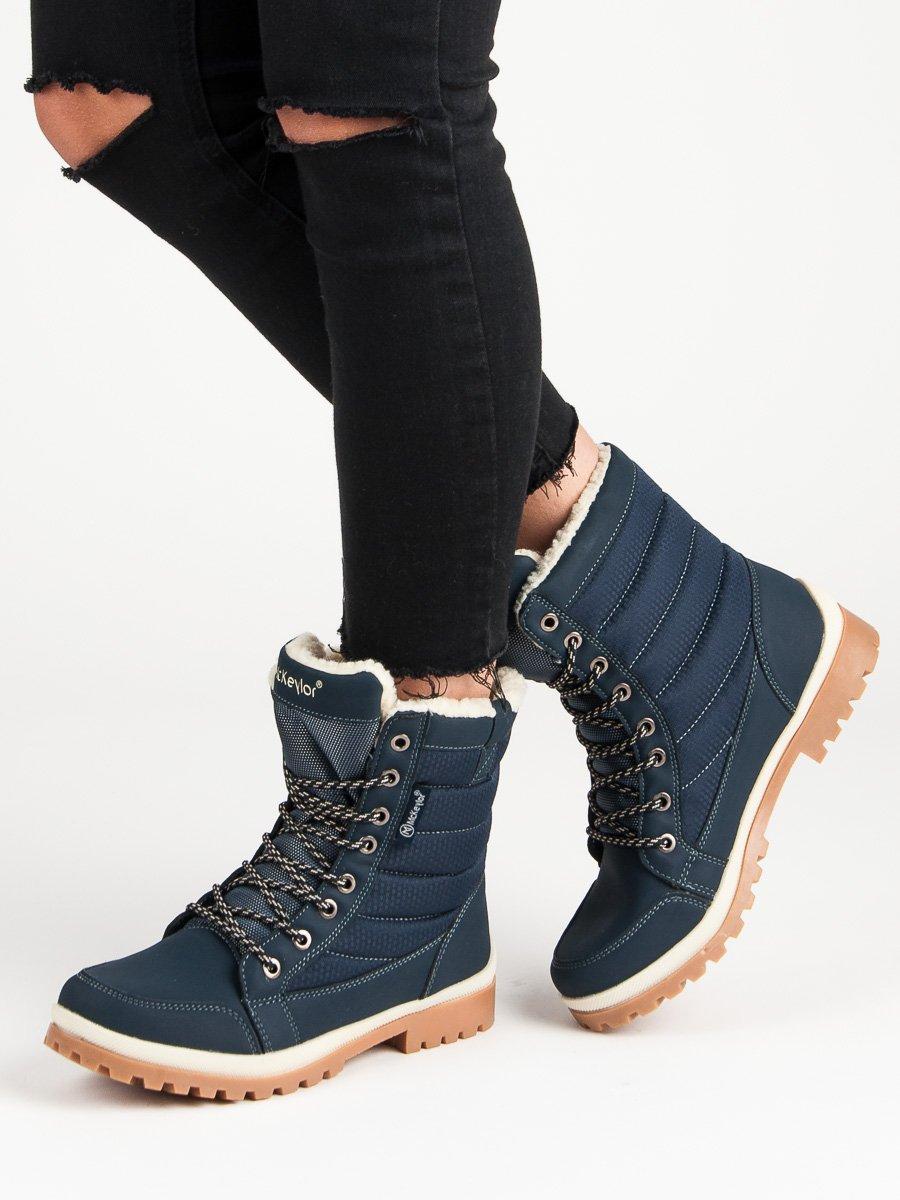 Zateplené dámské modré boty se šněrováním