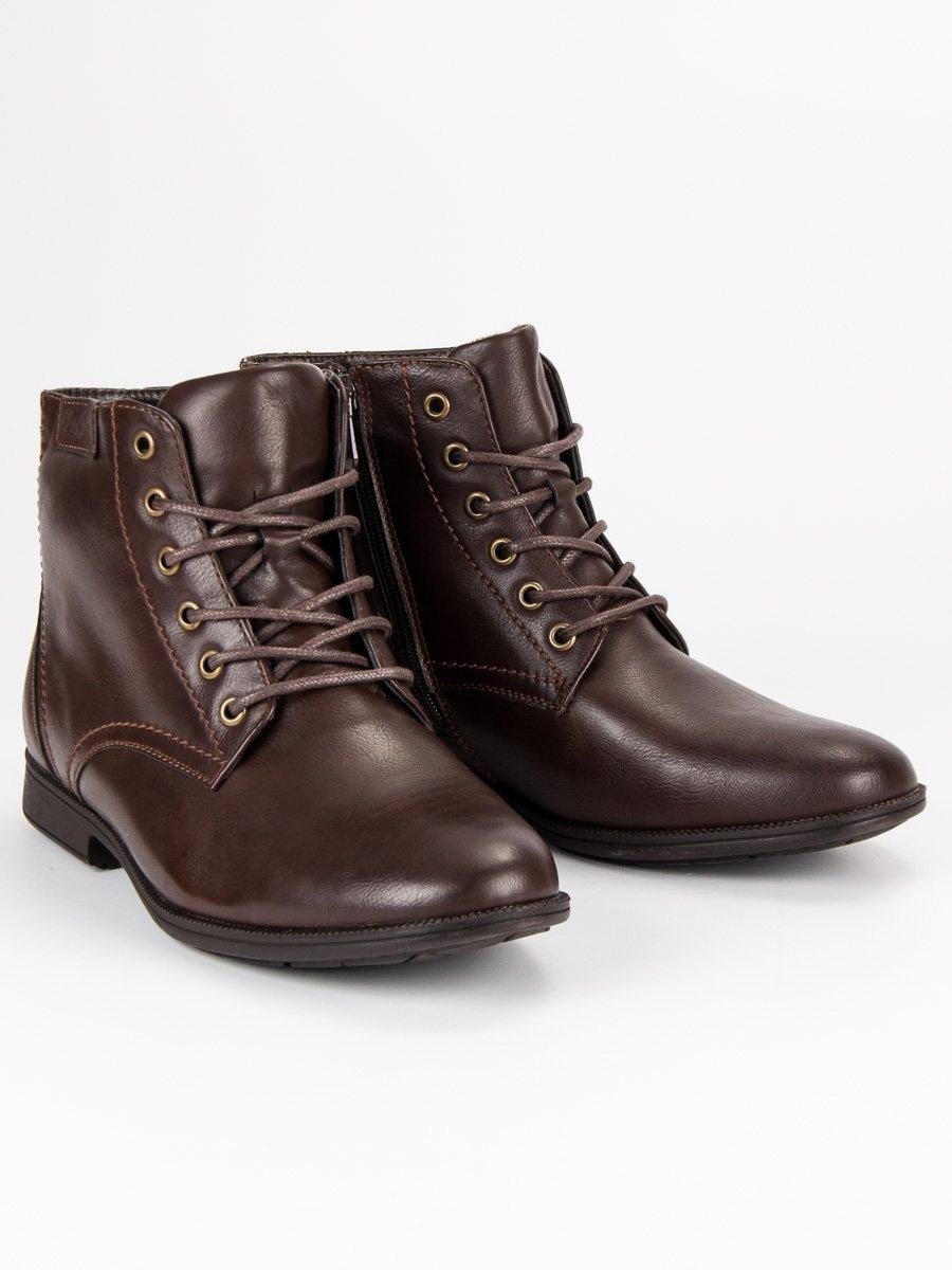 Zateplené hnědé pánské kotníkové boty na zip