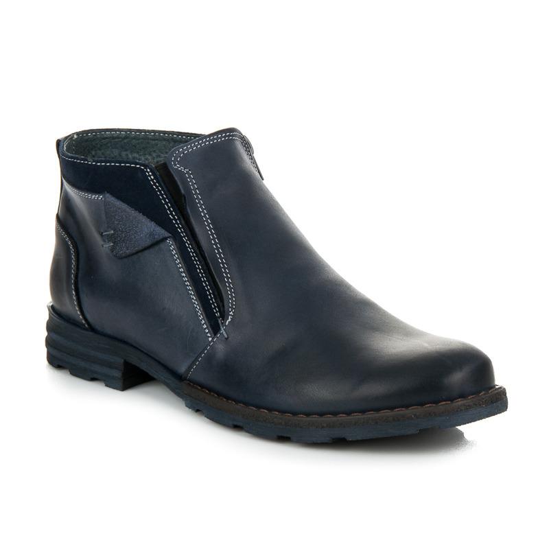 Zateplené modré pánské kožené kotníkové boty na zip