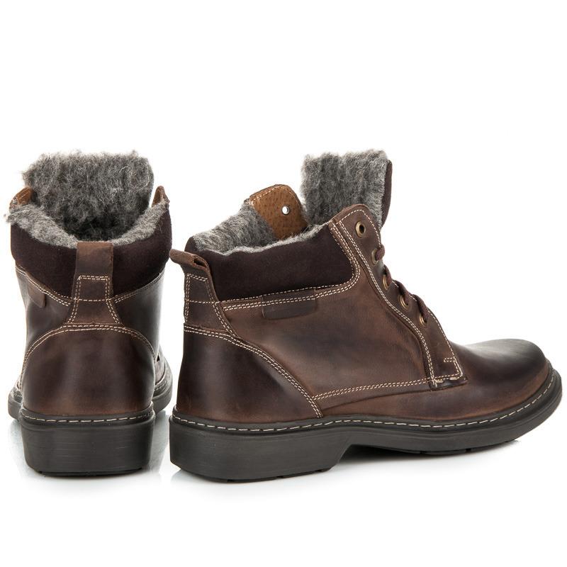 ... Zimní hnědé pánské kožené boty s kožíškem 2045e1fa490